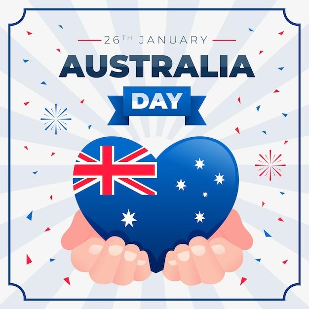 手で開催されたオーストラリアの国旗とハート 無料ベクター