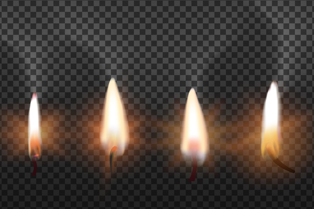 Пламя свечей на прозрачном фоне Бесплатные векторы
