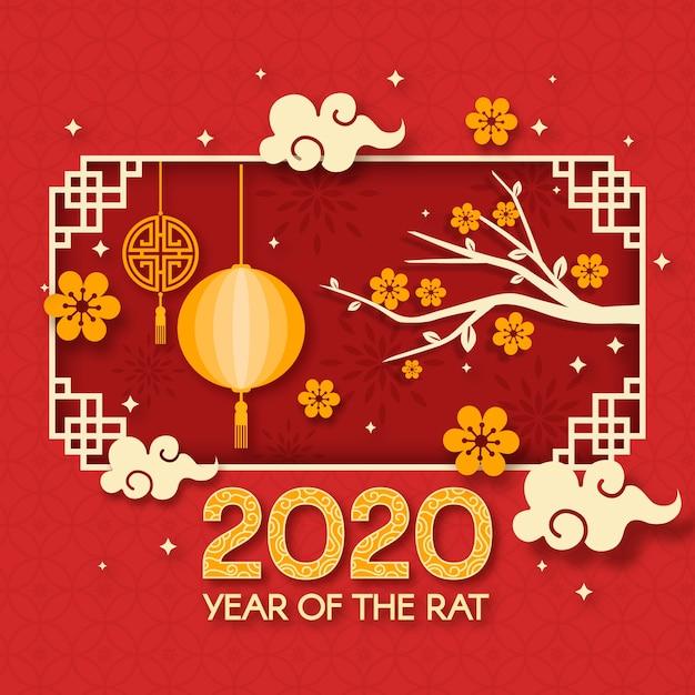 Китайский новый год в бумажном стиле с цветами и ветками Бесплатные векторы