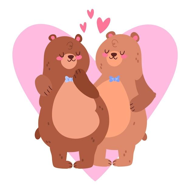かわいいバレンタインデーのカップル 無料ベクター