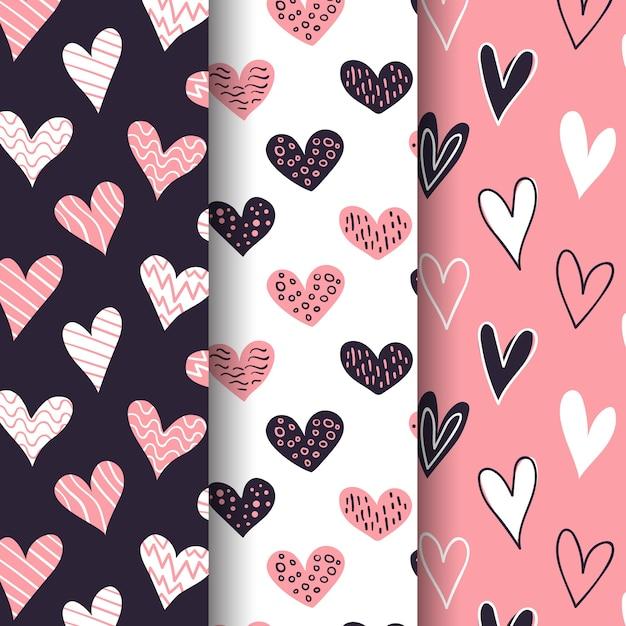 手描きのバレンタインデーパターンパック 無料ベクター