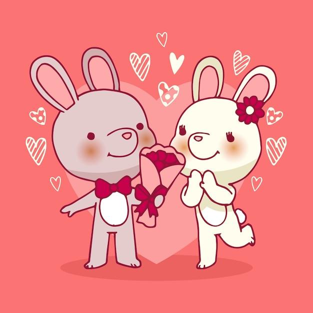 День святого валентина кроликов пара рисованной Бесплатные векторы