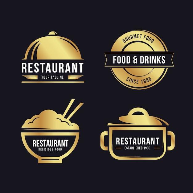 黄金のレトロなレストランのロゴを設定 無料ベクター