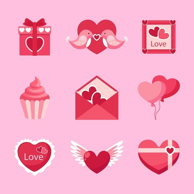 フラットなデザインのバレンタインデーの要素のコレクション 無料ベクター