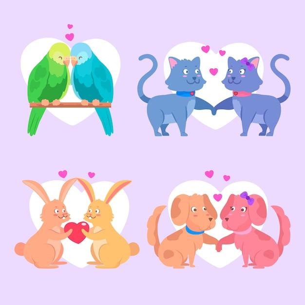 Милая пара животных в день святого валентина Бесплатные векторы