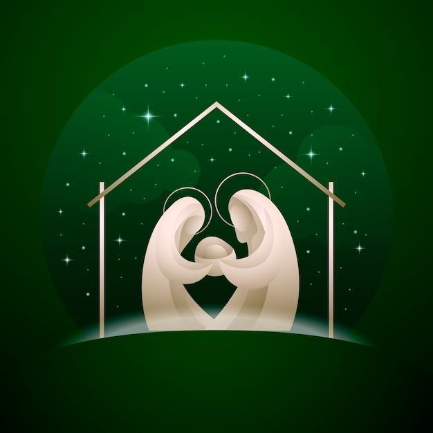 抽象的なキリスト降誕のシーンイラスト 無料ベクター