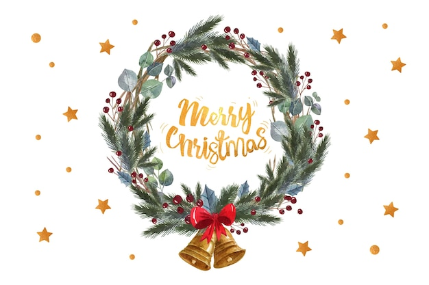 松のメリークリスマス引用葉の花輪 無料ベクター