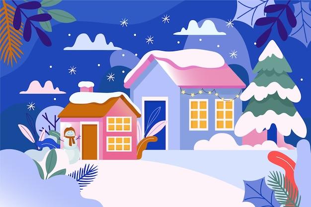 雪に囲まれた冬の町の風景 無料ベクター
