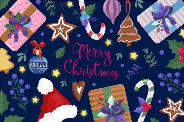 水彩のクリスマス飾りとテキスト 無料ベクター