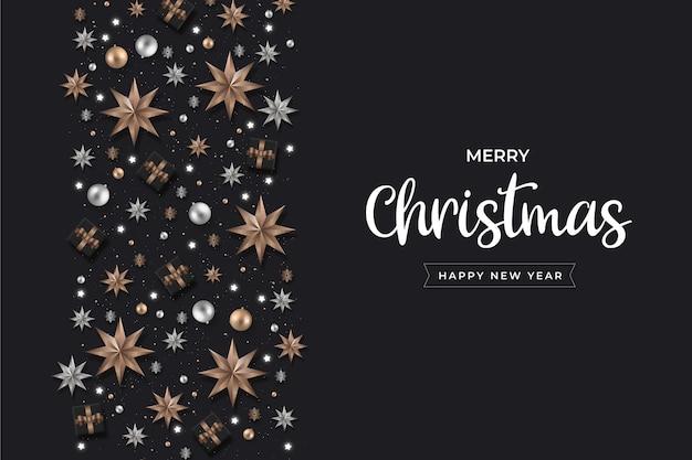 Минималистичный реалистичный фон рождественские украшения Бесплатные векторы