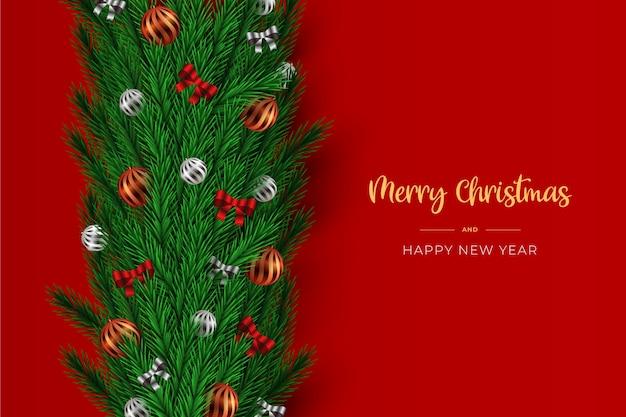 弓とボールと見掛け倒しのクリスマスの背景 無料ベクター