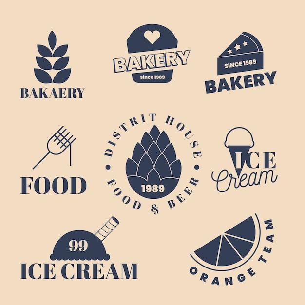 ベーカリーと夏のお菓子のロゴ 無料ベクター