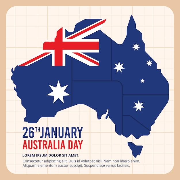 フラグを持つオーストラリア大陸 無料ベクター