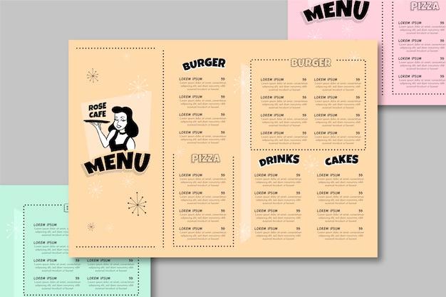 Красочный шаблон меню ресторана Бесплатные векторы