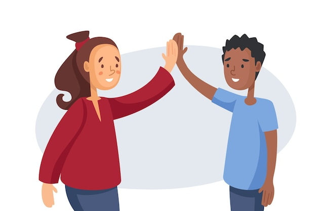 Молодая пара дает высокие пять Бесплатные векторы