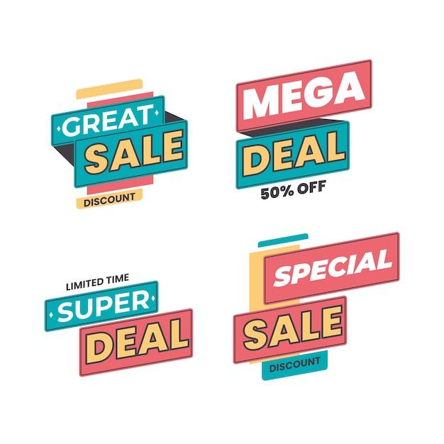 Продажа и скидка коллекция рекламных баннеров Бесплатные векторы
