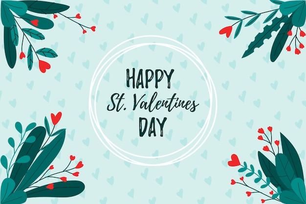 С днем святого валентина фон с цветами Бесплатные векторы