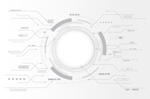 円形チャートと白い技術の背景 無料ベクター