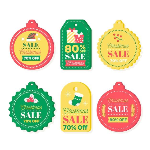 Плоские рождественские продажи тегов коллекции Бесплатные векторы