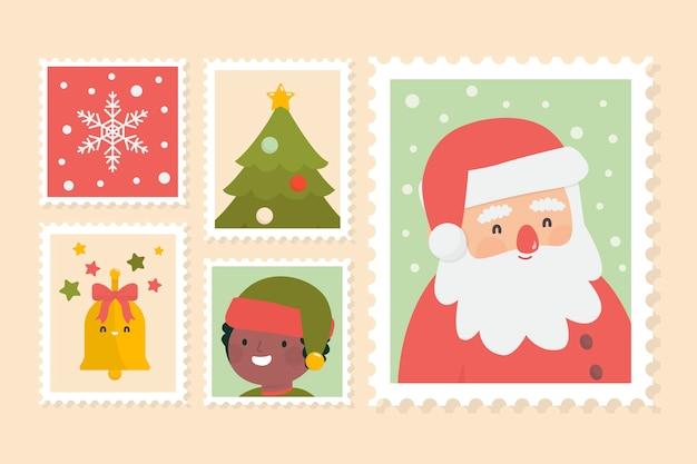 Пакет плоских рождественских марок Бесплатные векторы