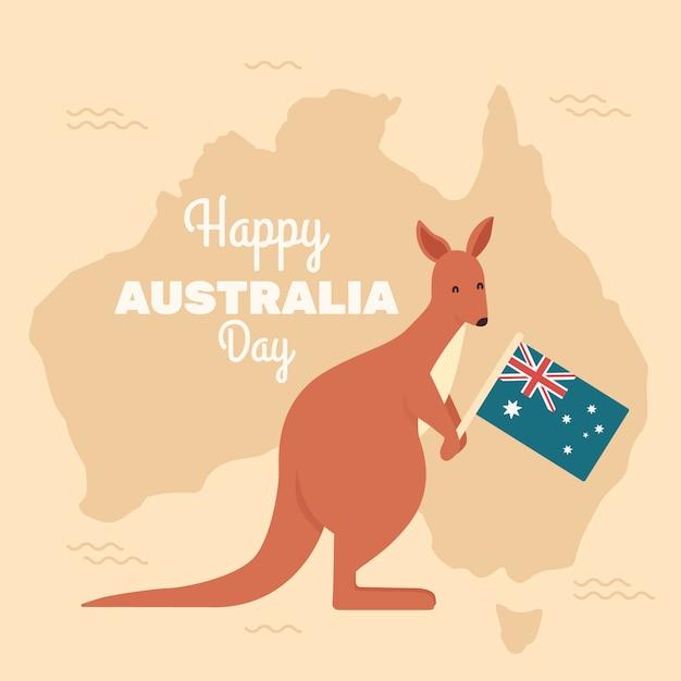 オーストラリアの国旗を保持しているカンガルー 無料ベクター