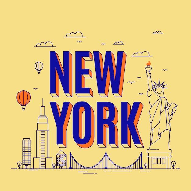 Городские надписи нью-йорк с основными достопримечательностями Бесплатные векторы