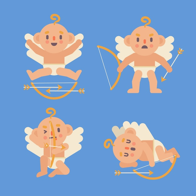 キューピッド天使キャラクターフラットデザインのセット 無料ベクター