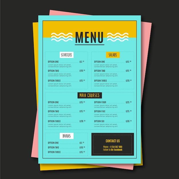 Шаблон меню минималистский ресторан еды Бесплатные векторы