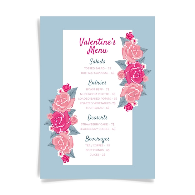 手描きの花とバレンタインメニューテンプレート 無料ベクター