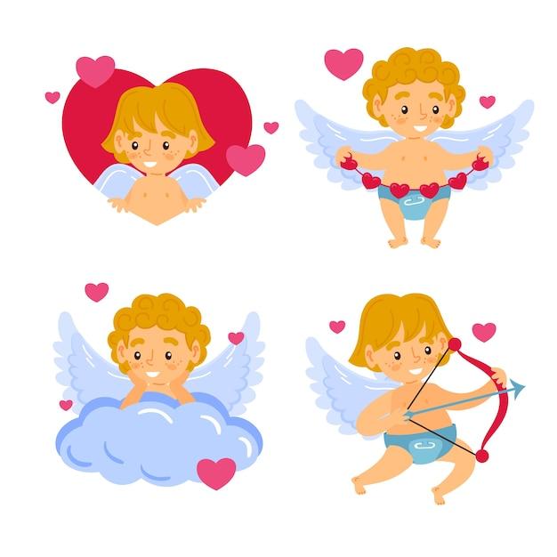 キューピッド天使キャラクター手描きのセット 無料ベクター