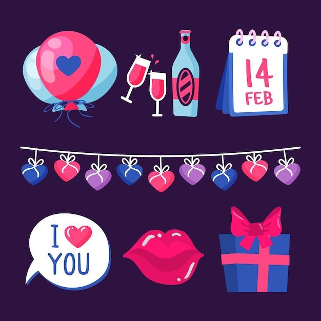 Рисунок с коллекцией элементов на день валентинок Бесплатные векторы