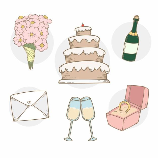Коллекция свадебных элементов с тортом и шампанским Бесплатные векторы