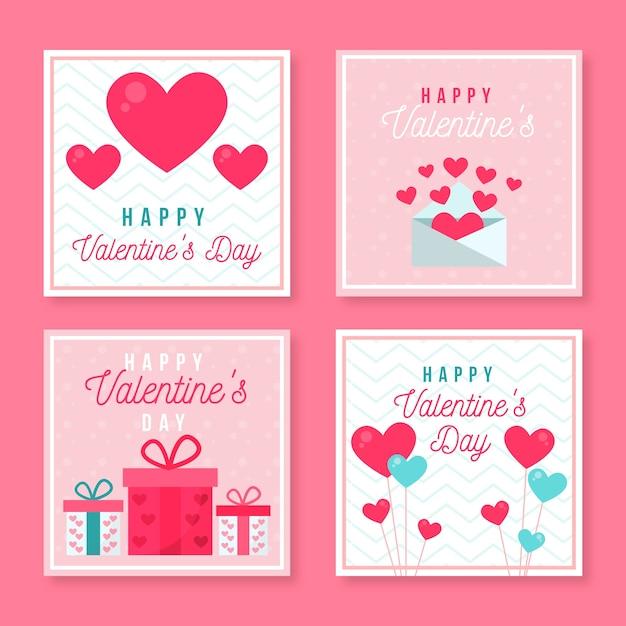 バレンタインデーのインスタグラム投稿のセット 無料ベクター
