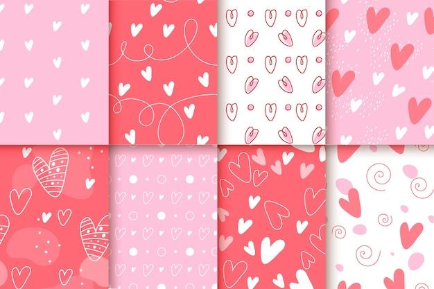 Плоский дизайн с коллекцией образцов дня святого валентина Бесплатные векторы
