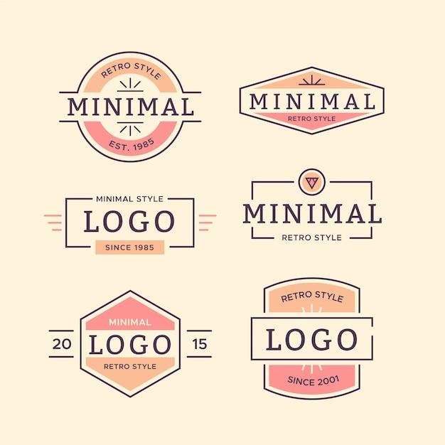 Красочная минимальная коллекция логотипов в стиле ретро Бесплатные векторы
