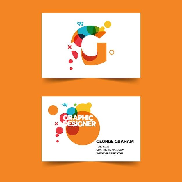 Красочный шаблон визитной карточки графического дизайнера Бесплатные векторы