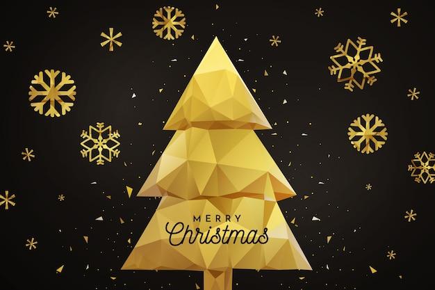 Золотые снежинки и золотое дерево на черном фоне Бесплатные векторы