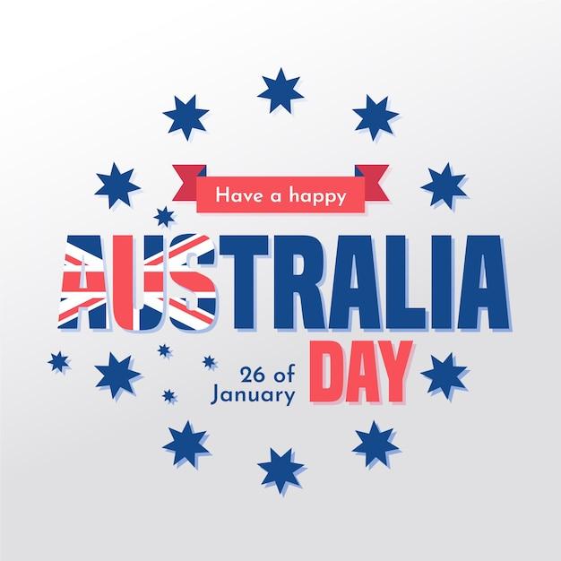 星と日付の平らなオーストラリアの日 無料ベクター