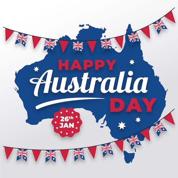Плоский австралийский день с картой и гирляндой Бесплатные векторы