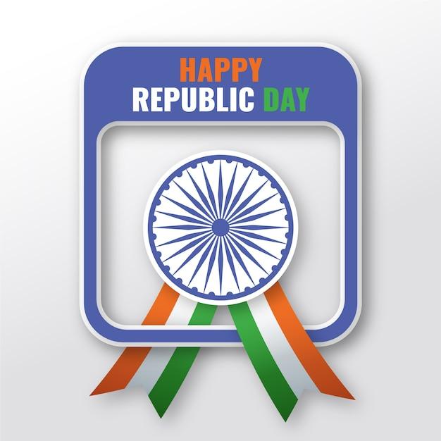 Плоский индийский день республики с лентой Бесплатные векторы