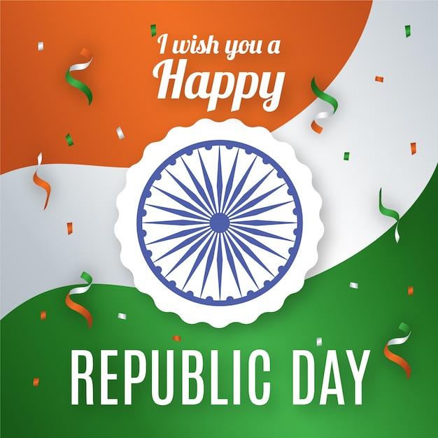 День индийской республики с конфетти Бесплатные векторы