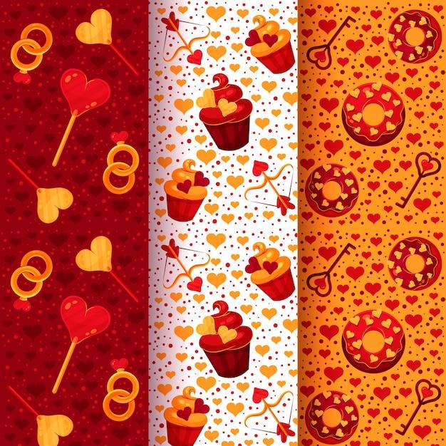 フラットなデザインのバレンタインの日パターンコレクション 無料ベクター