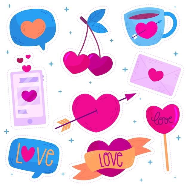 手描きのバレンタインの日の要素のコレクション 無料ベクター