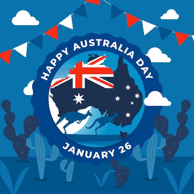 カンガルーのイラストがフラットなデザインのオーストラリアの日 無料ベクター