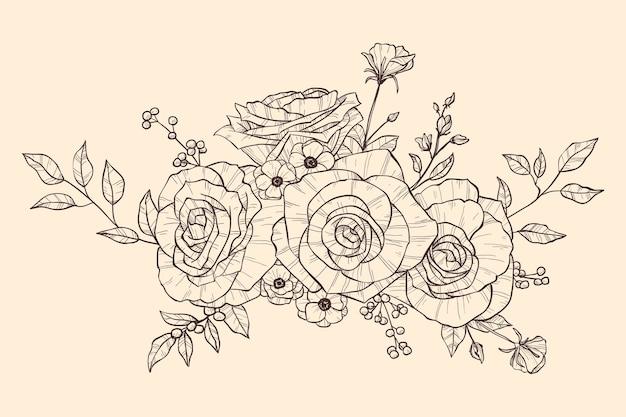Реалистичная рисованной цветочный букет Бесплатные векторы