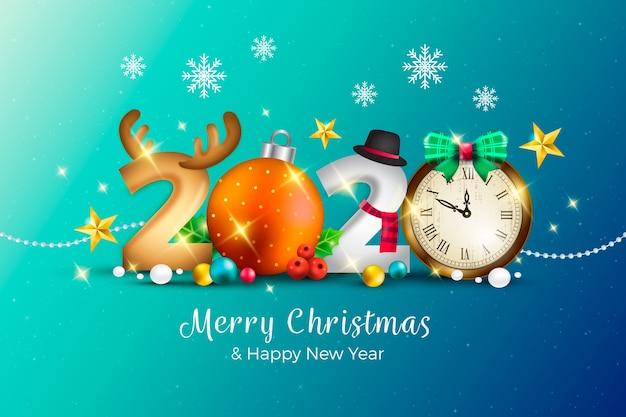 メリークリスマスと現実的な面白い新年の背景 無料ベクター