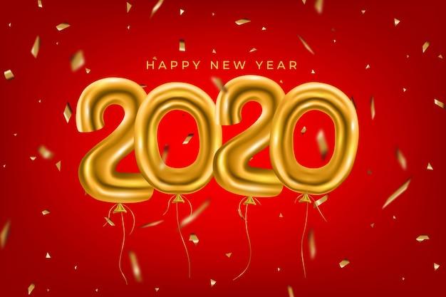 金色の風船で現実的な面白い新年の背景 無料ベクター