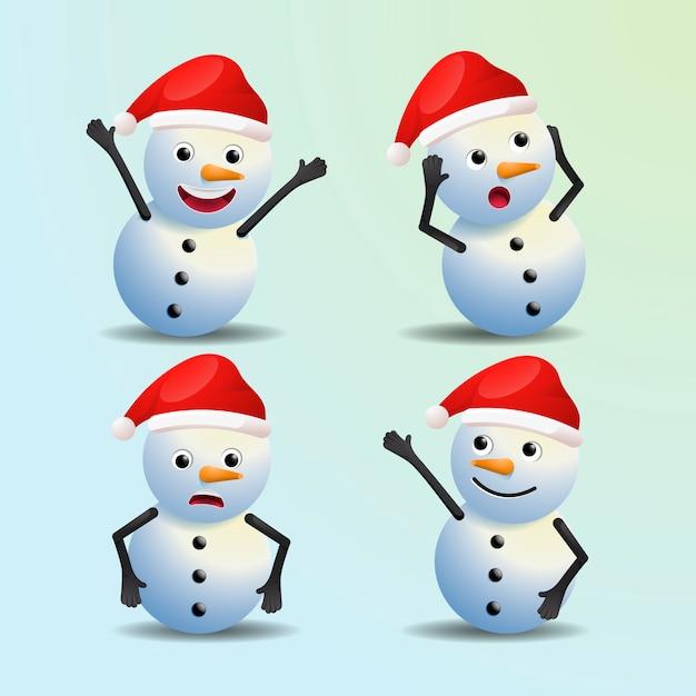 Реалистичный снеговик мультяшный рождественские персонажи Бесплатные векторы