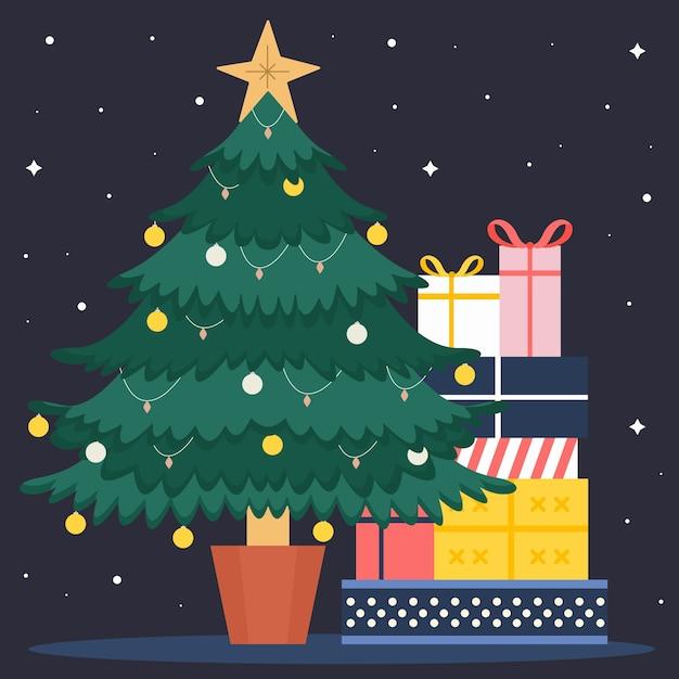 プレゼントとビンテージのクリスマスツリー 無料ベクター
