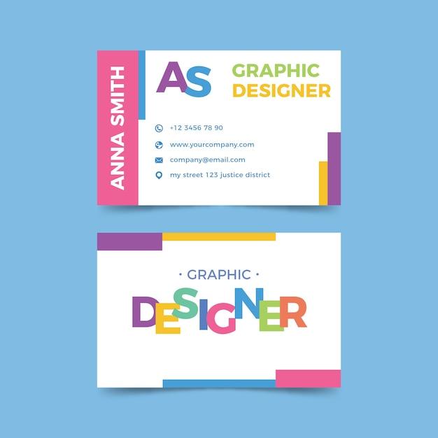 Визитная карточка графического дизайнера с забавным шаблоном Бесплатные векторы